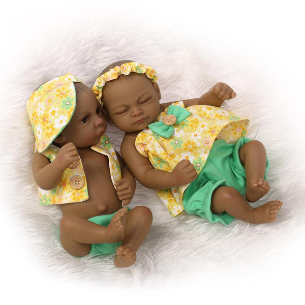 10 Inch American Doll Realistic Fashion Full Silicone Reborn Baby Doll Gift for Baby Christmas and Birthday