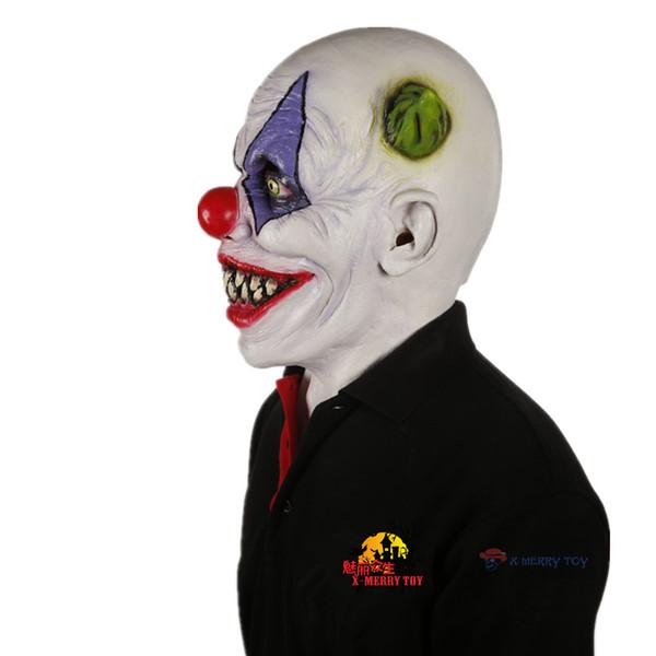 Noël X-Merry Jouet effrayant Mal Effrayant Halloween Masque De Clown En Caoutchouc Latex Vert Cornu Clown Masken Livraison Gratuite