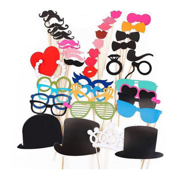 1set 44pcs graduation birthday party Photo Props Moustache Hat Small Eyes Paper Beard Wedding Party Supplies Bachelorette Party Photo Booth