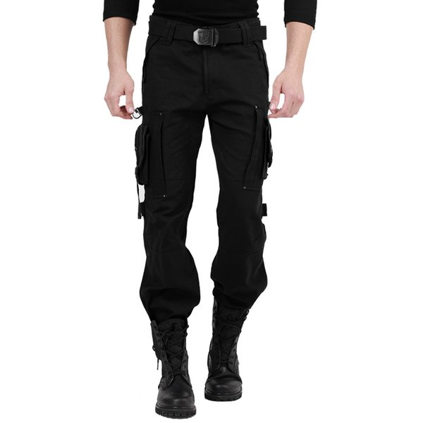 Wholesale- ABOORUN 2017 High Quality Mens Tactical Pants with Multi Pockets Black Army Male Casual Cargo Trousers B018