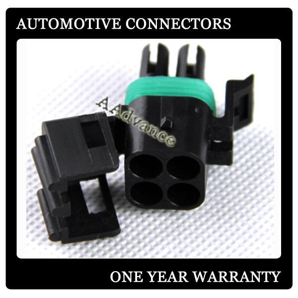 Delphi GM Weatherpack 4 Pin female Square Connector Kit with Terminals+Seals 20-18 AWG DJ3041-2.5-21