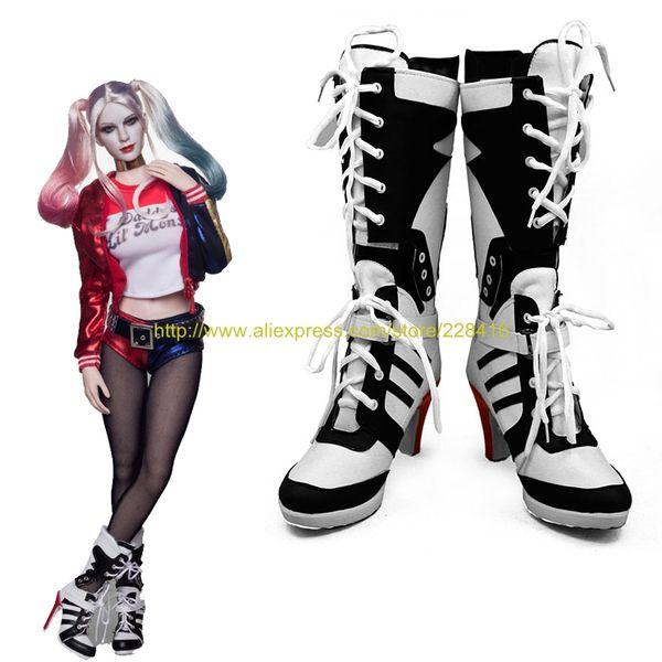 75232884a001d5 Atacado-Custom suicídio Filme Esquadrão Harley Quinn Cosplay Papel de salto  alto Sapatos Botas