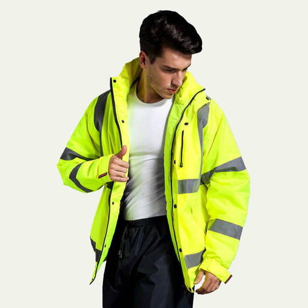 2017 Safety Clothing Outdoor High Visibility Reflective Jacket Waterproof Rain Coat Warm Cotton Padded Work Wear Winter Outwear