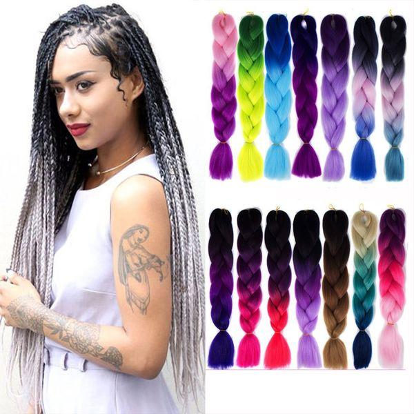 Ombre tre colori sintetici xpression intrecciare i capelli 24 pollici 100 g / pacco jumbo trecce Kanekalon xpression intrecciare i capelli crochet trecce capelli