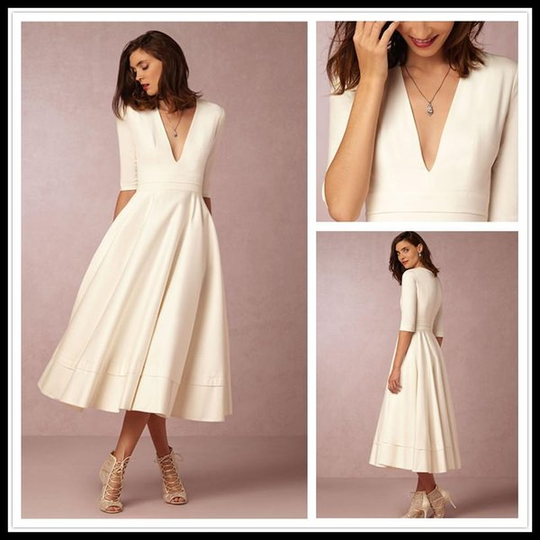 2018 New Arrival Homecoming Dresses Deep V Neck Half Sleeve Graduation Dress Tea Length Spring Best Selling Formal Evening Party Prom Gowns