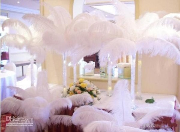 100Pcs per lot Natural White Ostrich Feathers Plume Centerpiece for Wedding Party Table Decoration (Many Sizes for You To Choose