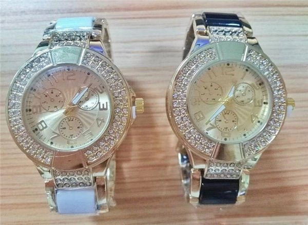 Luxury white black golden Watch for Woman Diamond watch Fashion WRIST round dial watch commercial wrist watches D03