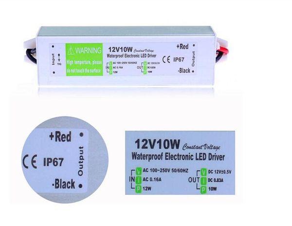 IP67 Impermeable Electrónico LED Controlador 12V 10W Uso al aire libre Transformador 110V 220V A 12V Fuente de alimentación para luz subacuática