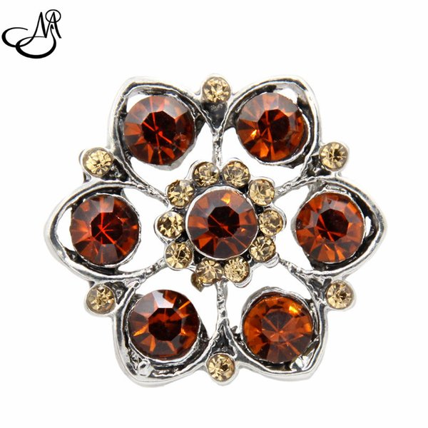 12pcs/lot 18mm Snap button charms lot jewelry brown crystal flower snap buttons for snap button bracelets jeweley MIJ502