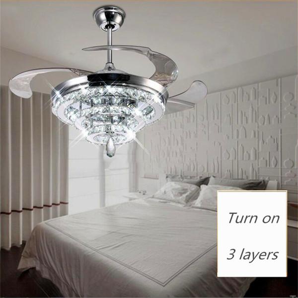 LED Kristall Kronleuchter Fan Lichter Unsichtbare Fan Kristall Lichter Wohnzimmer  Schlafzimmer Restaurant Moderne Deckenventilator 42 Zoll