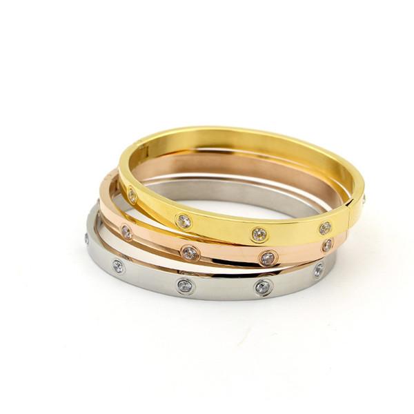 Beaux bijoux en acier inoxydable Infinity Charm Bangle Couple Bijoux Amour Cadeau Or rose cristal Bracelets Bracelet Femmes Bracelet en acier inoxydable bijoux