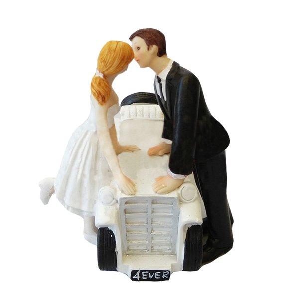 Topper torta nuziale con sposi coppia figurina decorazione torta auto d'epoca per la festa di anniversario di matrimonio