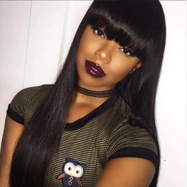 simulation human hair wig long straight full black Wig With bangs Fashion Style in large stock free shipping