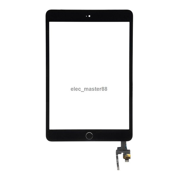 10pcs Free DHL for iPad mini 3 Touch Screen Digitizer Assembly with Home Button & Home Flex Cable+ IC Connector
