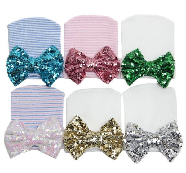 20 PCS Winter Warm Lovely Newborn Baby Infant Girl Toddler Soft Sequins Bowknot Hospital Cap Beanie Hat