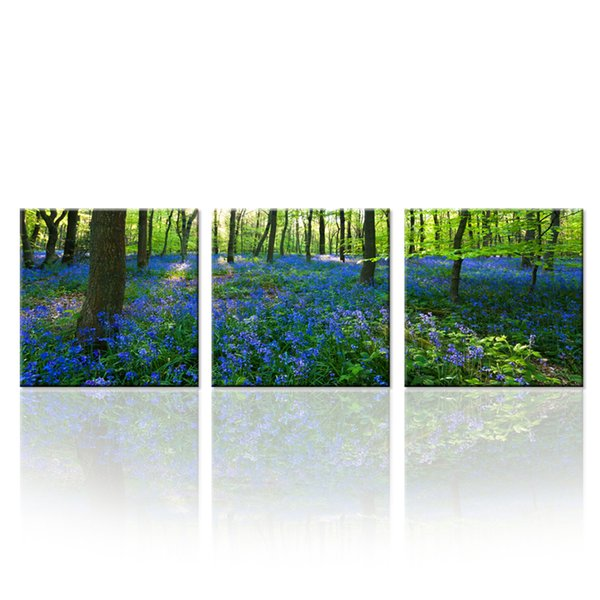 Triptych Forest Canvas Prints Wall Art Stretched Modern Decor Paintings Purple Flowers Picture Giclee Artwork for Living Room 3 pcs\set