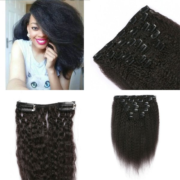 Free Shipping Kinky Straight Clip In Human Hair 120G Vietnamese Clip In Hair Extensions For African American FDSHINE HAIR