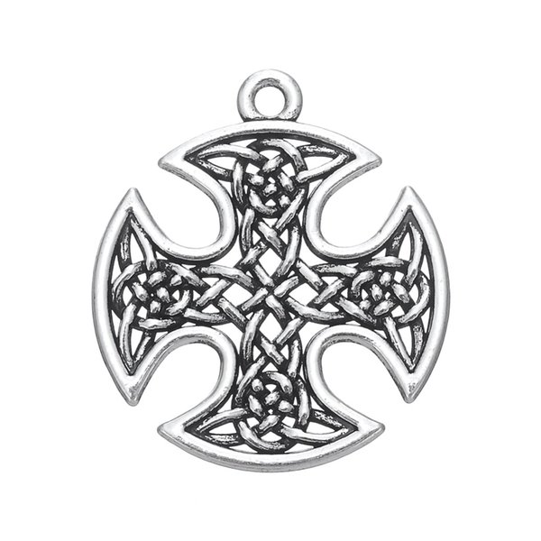 Antique Silver Plated Knot Work Cross Religious Talisman Pendants Handmade Neckalce Charms Wholesale Bulk Lots 5pcs
