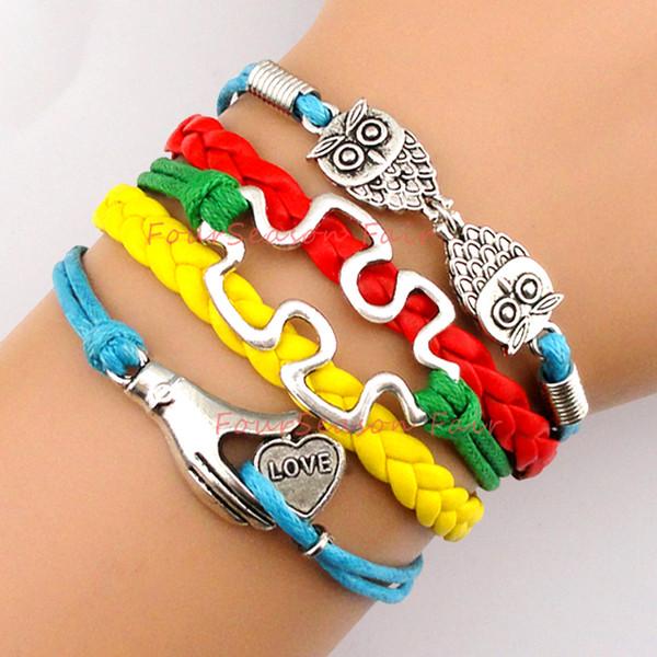Autism Heart Puzzle Piece Bracelets Wholesale Pack - 18 Bracelets