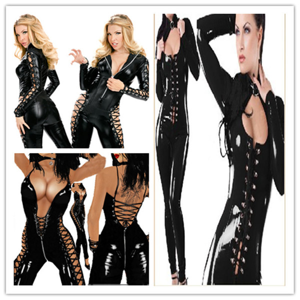 leather uniform dress dance clothing spot blasting stage wear Black PVC Sexy O Rings Catsuit Clubwear Dress Outfits