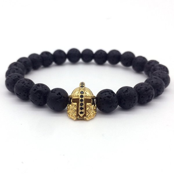 New Fashion Men Bracelet Pave Cz &Warrior Helmet 8mm Lava Stone Strand Bracelets Jewelry Pulsera Hombres Christmas Gift