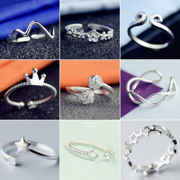 여자에 대 한 조정 가능한 열기 반지를 조정합니다 안티 실버 스타 플라워 크라운 원형 무한대 검지 손가락 반지 패션 웨딩 보석 크리스마스 선물