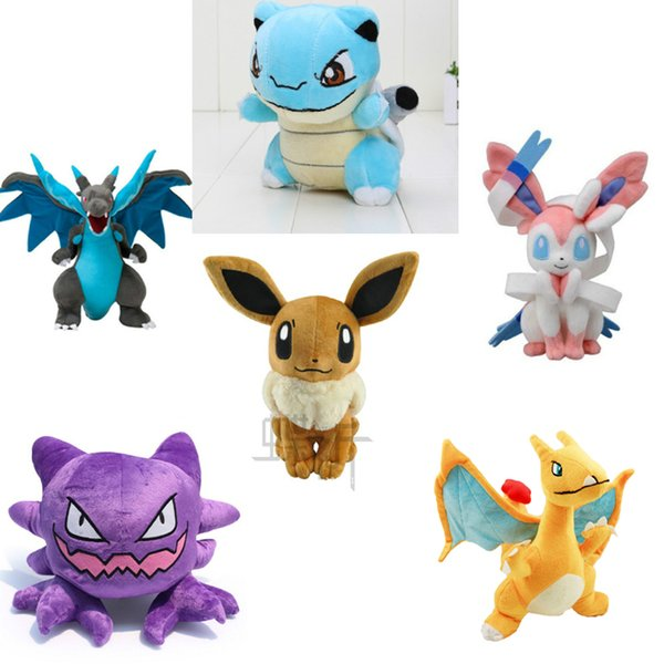 top popular 6 Style Plush Toys Soft Stuffed Dolls Blastoise Charizard Haunter Sylveo Eevee Cute Baby Toys Plush Animals Plush Gift Free shipping 2019