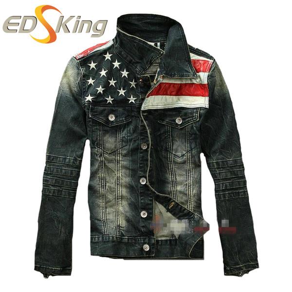 Atacado - New American flag jaqueta jeans para homens Moda motocicleta jeans jaqueta curta do velho jeans denim casaco