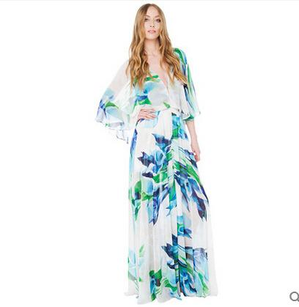 2016 Spring and Autumn Floral Printed Beach Dress Circular Cape Seaside Deep V-neck Split Sexy Bohemian Maxi Dresses