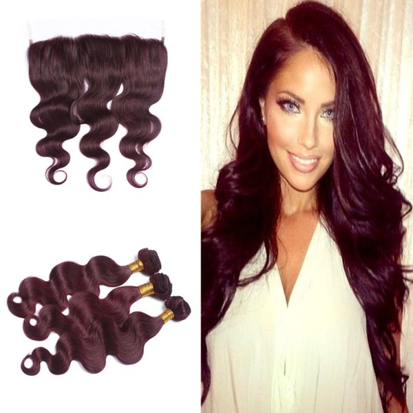 Burgundy Malaysian Virgin Body Wavy 99J 3Pcs Hair Bundles with 13*4'' Lace Frontal with Baby Hair Around for Black Women
