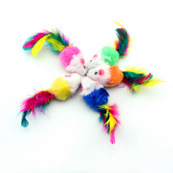 best selling False Mouse Pet Cat Toys Mini Playing Toys with Colorful Feather