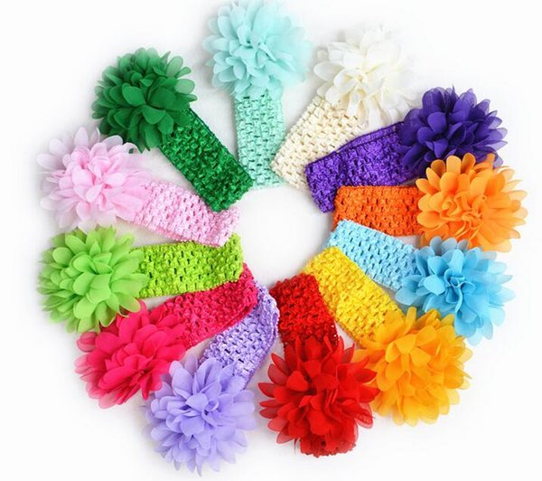 Free shipping 50pcs/lot baby Headwear Head Flower Hair Accessories 4 inch Chiffon flower with soft Elastic crochet headbands stretchy