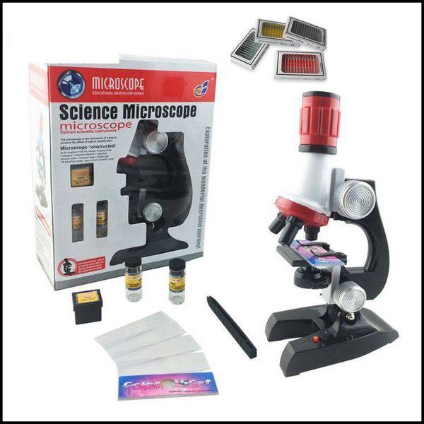 Freeshipping 1200x Zoom Işıklı Oyuncak Monoküler Plastik Mikroskop ile 48 ADET Mikroskop için Hazırlanan slaytlar çocuk Eğitim Hediye