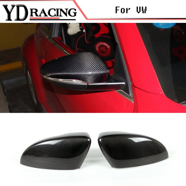 Carbon Fiber Rearview Car Mirror Covers Trim Add On Style for Volkswagen VW PASSAT CC Scirocco Beetle