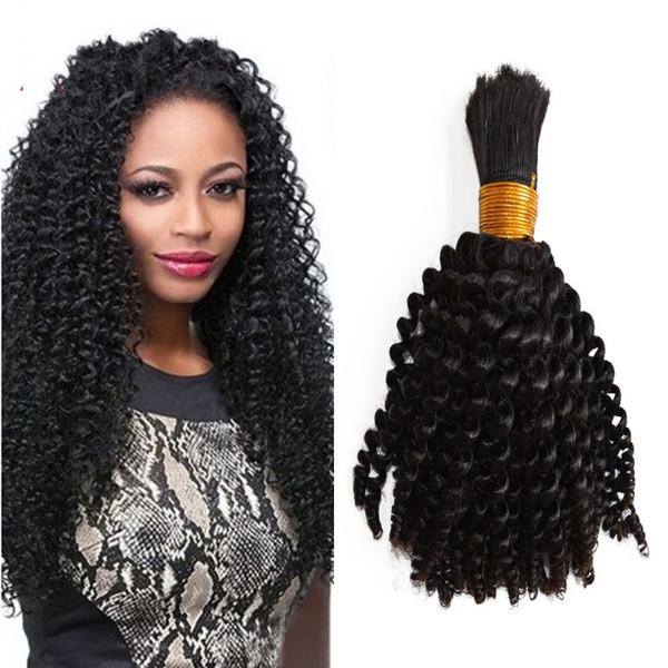 1 Bundle Human Hair Bulk 100g Natural Color Indian Kinky Curly Bulk Hair for Braiding Human Hair No Weft G-EASY
