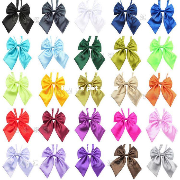 New Dog Ties 50pcs Wholesale 26 Colors Polyester Silk Pet Dog Bow ties Adjustable Pet Dog Neckties Mix Pure Solid Colors