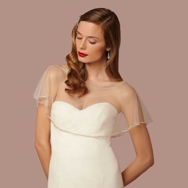 Ivory In Stock Wedding Bolero Women Cheap Wedding Accessories 2017 New Beaded Bridal Jacket Cape Short Tulle Wrap
