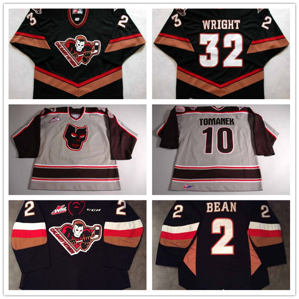 Personalizar Mens Womens Kids WHL Calgary Hitmen 10 Tomanek 32 Wright 2 Jake Bean 100% bordado Logos Hockey Jerseys baratos Goalit Cut