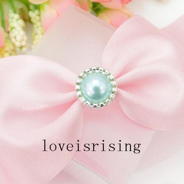 Hot Sale-100pcs Aqua Blue Pearl Brads Paper Fastener for Scrapbooking card making DIY Craft Supplies wedding favor box Decor