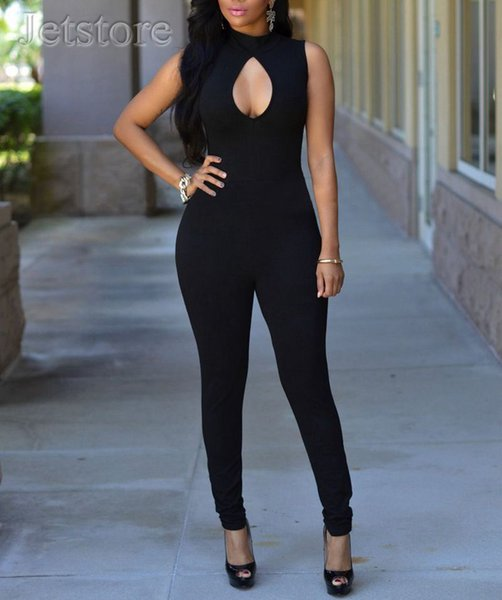 Wholesale- 2016 New Summer Sleeveless Front Hollow Out Cut Jumpsuit Sexy Stretch Ldaies Bodycon Clubwear Women clothing Rompers Bodysuit