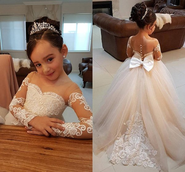 top popular Elegant Ball Gown Flower Girls Dresses For Weddings Sheer Neck Long Sleeves Applique Lace Tulle Children Wedding Dresses Girls Pageant Dress 2019