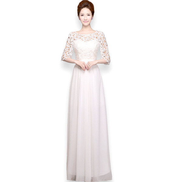 2016 Fashion Classic Lady Formal Dresses White Blue Pink Green Sexy Lace Chiffon Full Length Maxi Dress With Expansion Skirt