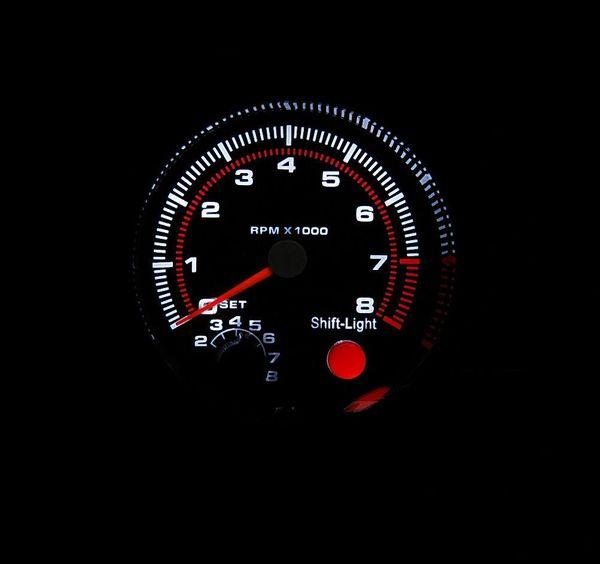 top popular 3.75'' 80mm 0~8000 Tachometer Gauge Carbon Rim Black Face Tachometer Rpm Gauge RPM Meter With RPM Shift Light Auto Gauge 2021