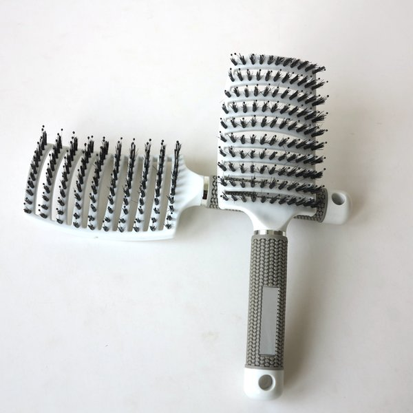 New Anti-static Heat Curved Vent Barber Salon Hair Styling Tool Rows Tine Comb Plastic Bristle Hair Brushes 1 PC Free Shipping