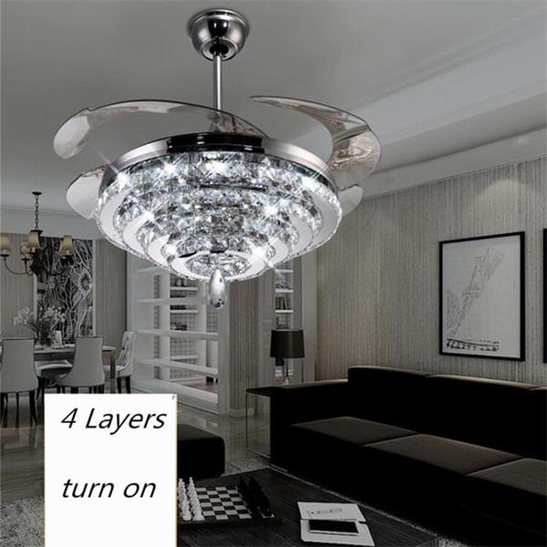 LED Kristall Kronleuchter Fan Lichter Unsichtbare Fan Kristall Lichter  Wohnzimmer Schlafzimmer Restaurant Moderne Deckenventilator 42 Zoll Mit  Fernbedienung