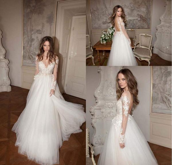 c64d65a5d933 Vintage White sposa economici della Boemia del vestito a maniche lunghe  pavimento di Tulle di lunghezza