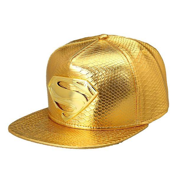 High Quality Star PU Hats Supermen Snapback Gold Caps Hip Hop Baseball Hats Popular Mens Sports Adjustable Hats DJ Gift