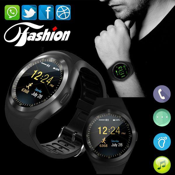 2018 Sıcak Bluetooth Smartwatch Yuvarlak Dokunmatik Ekran SIM Kart Spor Kol Perakende Kutusu ile IOS Android için