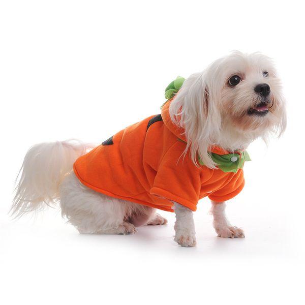 dog pumpkin costume halloween pumpkin devil style pet halloween costume thick fleece warm winter pet clothing