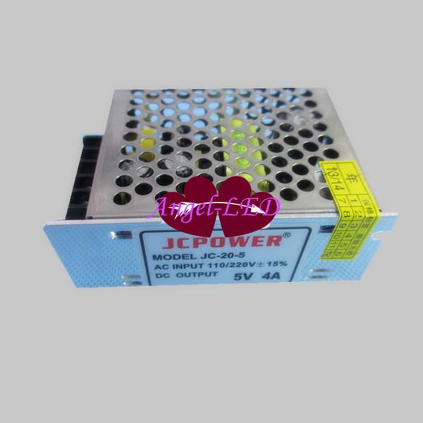 Venta al por mayor rápido shpping 5V 4A Fuente de alimentación de conmutación DC5V 20W transformador de voltaje para WS2811 WS2812B llevó la luz de tira